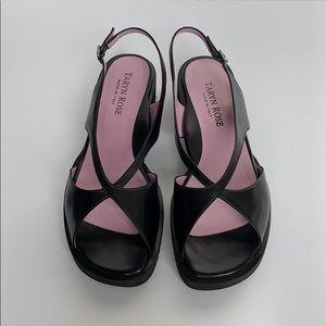 TARYN ROSE Black Leather Platform Sandals